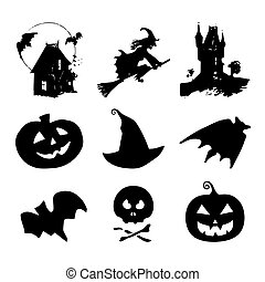 Halloween icons, signs. Vector illustrations of October 31...