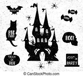 Halloween icons. Vector illustration.