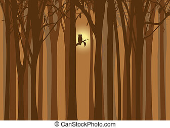 Halloween illustration autumn forest with owl