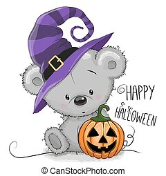 Halloween illustration of Cartoon Bear with pumpkin
