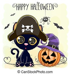 Halloween illustration of Cartoon black cat