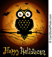 Halloween illustration owl silhouette on moon background.