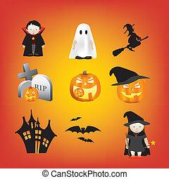 halloween illustration set of different cartoon elements