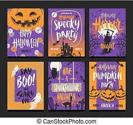 Vector set of Halloween holidays hand drawn posters or greeting card with handwritten calligraphy quotes, words and phrases.