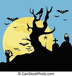 halloween, illustration, vektor, kyrkogård, bakgrund, skrämmande