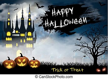 Halloween illustration with castle, tomb and bats