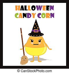 Halloween illustration with cute candy corn as a witch