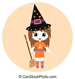Halloween illustration with cute girl as a witch with flying broom