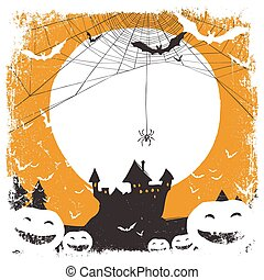 Halloween illustration with huanted castle and spider web and space for text