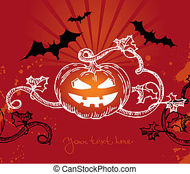 Halloween illustration with pumpkin