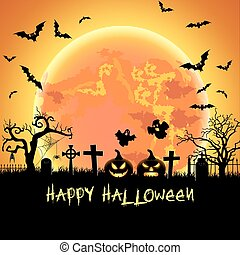 Halloween illustration with tomb and bats