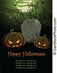 Halloween Illustration with Tombst - Halloween Illustration...