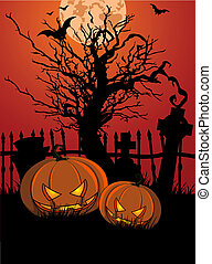 halloween, illustrazione, con, tombst