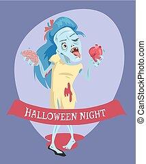 halloween, illustrazione, zombie, vettore, notte, signora