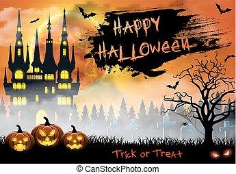 halloween, ilustración, con, castillo, tumba, y, murciélagos