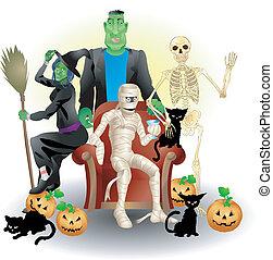 halloween, ilustración, grupo