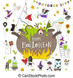 halloween, ilustración, vector