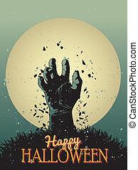 halloween, -, ilustración, zombi, vector, cartel, fiesta