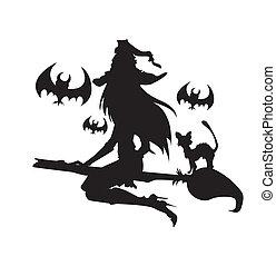 halloween, ilustracja, jeden, elements., czarownica, color.