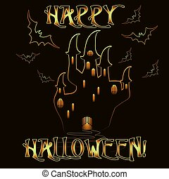 halloween, ilustracja, wektor, zaproszenie, zamek, karta, szczęśliwy
