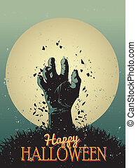 halloween, -, ilustracja, zombie, wektor, afisz, partia