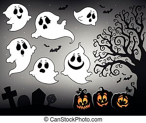 Halloween image with ghosts theme 3
