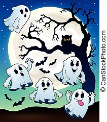 Halloween image with ghosts theme