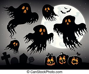 Halloween image with ghosts topic 1