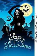 Halloween image with grim reaper - color illustration.