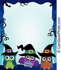 Halloween image with owls theme 2
