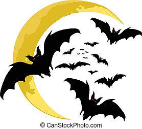 halloween backgrounds. bats silhouette . vector
