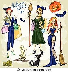 halloween, impression, -, 1., sorcières, collection, main, dessiné