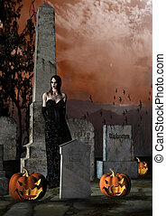 Halloween in a Cemetery - Scary Halloween night image of a...