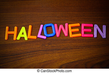 Halloween in colorful toy letters