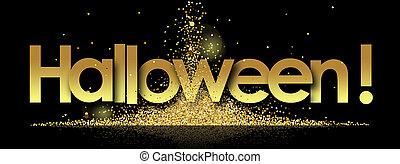 halloween in golden stars background