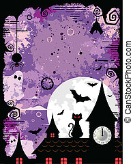 Halloween in the Midnight - Vector illustration of an spooky...