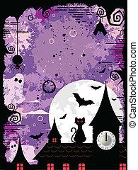 Vector illustration of an spooky Halloween design in violet