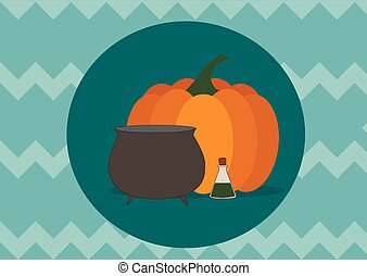 pumpkin and bowler hat on blue zigzag background