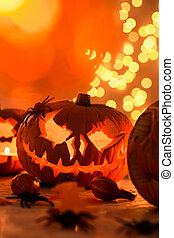 halloween, intagliato, zucca
