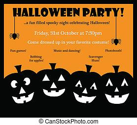 halloween, invitar, feliz