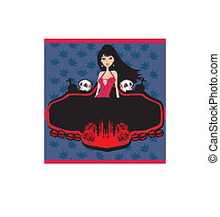 halloween invitation with beautiful witch beautiful female vampi