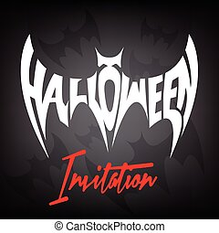 Halloween Invitation with Flying Bat Concept
