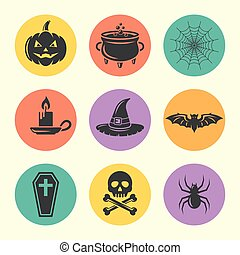 Halloween isolated vector round colored icons