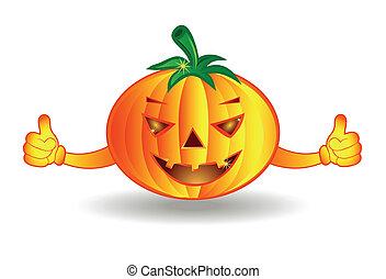 halloween, isolerat, bakgrund, vit, lycklig, pumpa