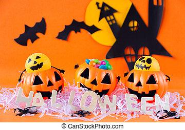 Halloween Jack o Lantern bucket with haunted house castle