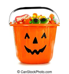 Halloween Jack o Lantern candy collector over white