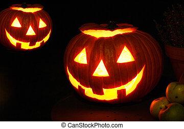 Halloween Jack O Lantern Glowing Pumpkin