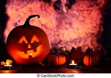 Halloween Jack o Lantern. Night scene with an orange grunge background.