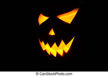 Halloween Jack-o-lantern on a black background,