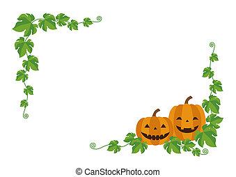 Halloween jack o lantern, pumpkin frame